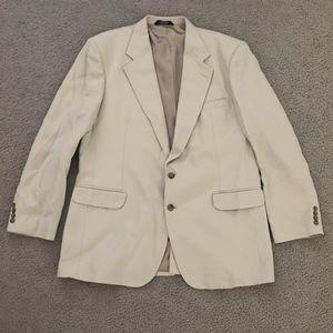 Haggar Mens Beige 2 Button Blazer Sport Jacket